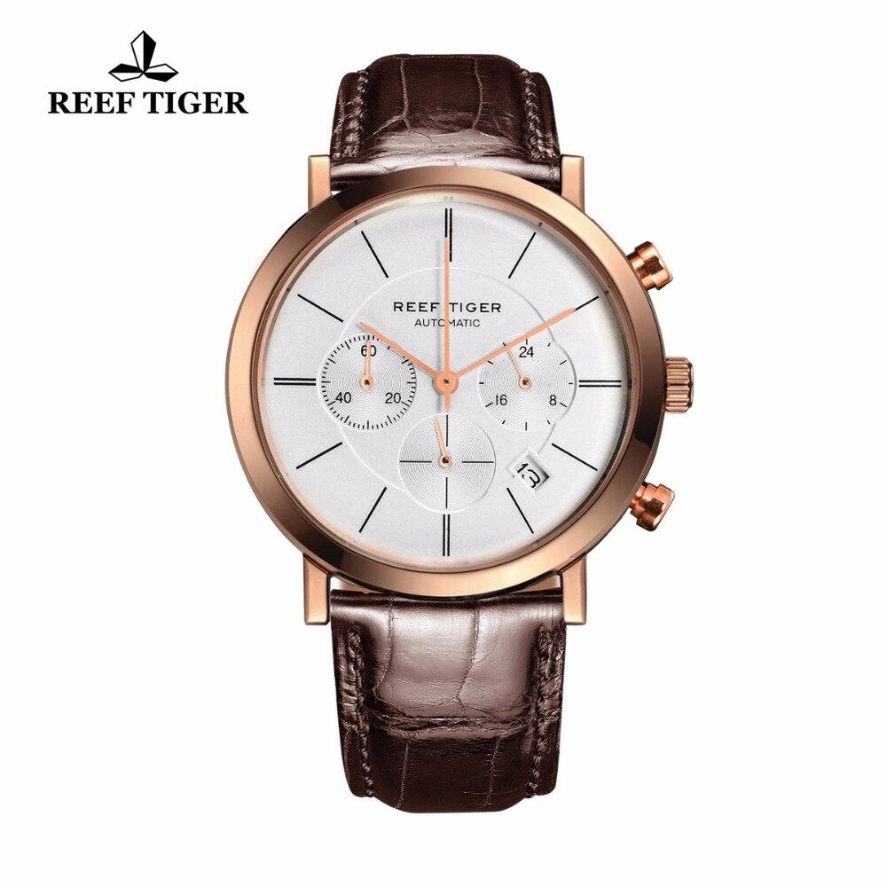 Récif tigre/RT Ultra mince montres d'affaires pour hommes Rose or bracelet en cuir montres Quartz chronographe montres avec Date RGA162