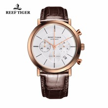 цена Reef Tiger/RT Ultra Thin Business Watches for Men Rose Gold Leather Strap Watches Quartz Chronograph Watches with Date RGA162 онлайн в 2017 году