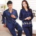 Parejas Pijama Set Amor Hombres la ropa de Dormir de Seda de Lujo de Satén Pijamas de manga Larga Pijamas de Las Mujeres