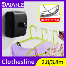 Retractable Clothesline Indoor Outdoor Laundry Hanger Black Dryer Organiser Clothes Drying Rack Rope Stainless Steel