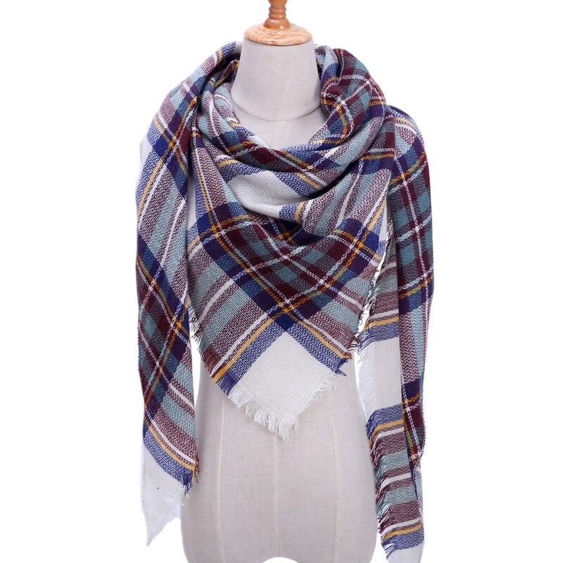 Бандана палантин платок на шею шарф зимний Дизайнер трикотажные весна-зима женщины шарф плед теплые кашемировые шарфы платки люксовый бренд шеи бандана пашмина леди обернуть - Цвет: b23