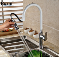 Deck Mount Chrome Brass Pull Out Sprayer Kitchen Sink Faucet White One Handle Mixer Tap W