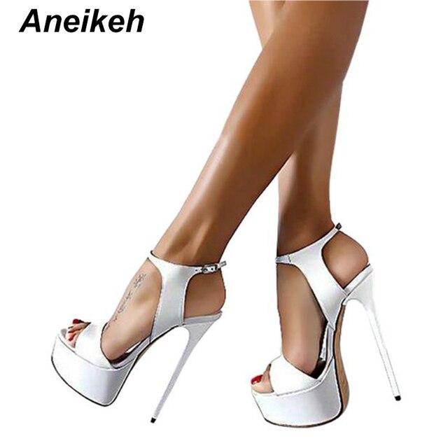 Aneikeh gran zapato tamaño 41 42 43 44 45 46 Sandalias de tacón alto verano Sexy abierto vestido de fiesta 16 zapatos de mujer gladiador con plataforma CM
