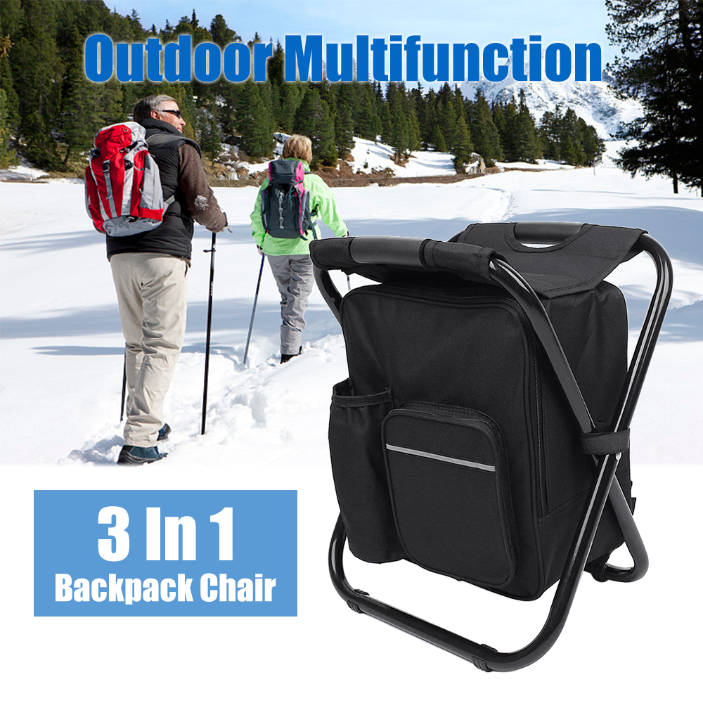Outdoor Folding Stool Portable Backpack Chair Stool with Insulated Cooler Bag for Camping Fishing Hiking Beach Multi Tool-in Outdoor Tools from Sports & Entertainment