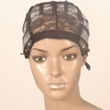 5PCS/Lot Large Black Wig Making Cap Top Stretch Weaving Cap with adjustable Strap for making wigs