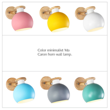 Nordic wall lamp bedroom macaron simple modern personality of the head bed creative solid wood corridor fixture