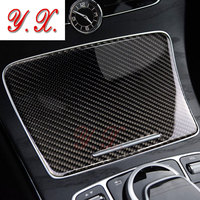 Car sticker For Mercedes W205 C180 C200 GLC Carbon Fiber Interior Water Cup Holder Panel Cover Trim For Benz C Class Accessories