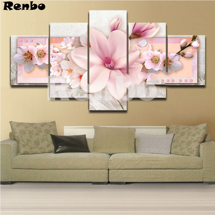 5 pcs set diy 5d diamond embroidery Pink peach blossom picture by rhinestones mosaic diamond painting