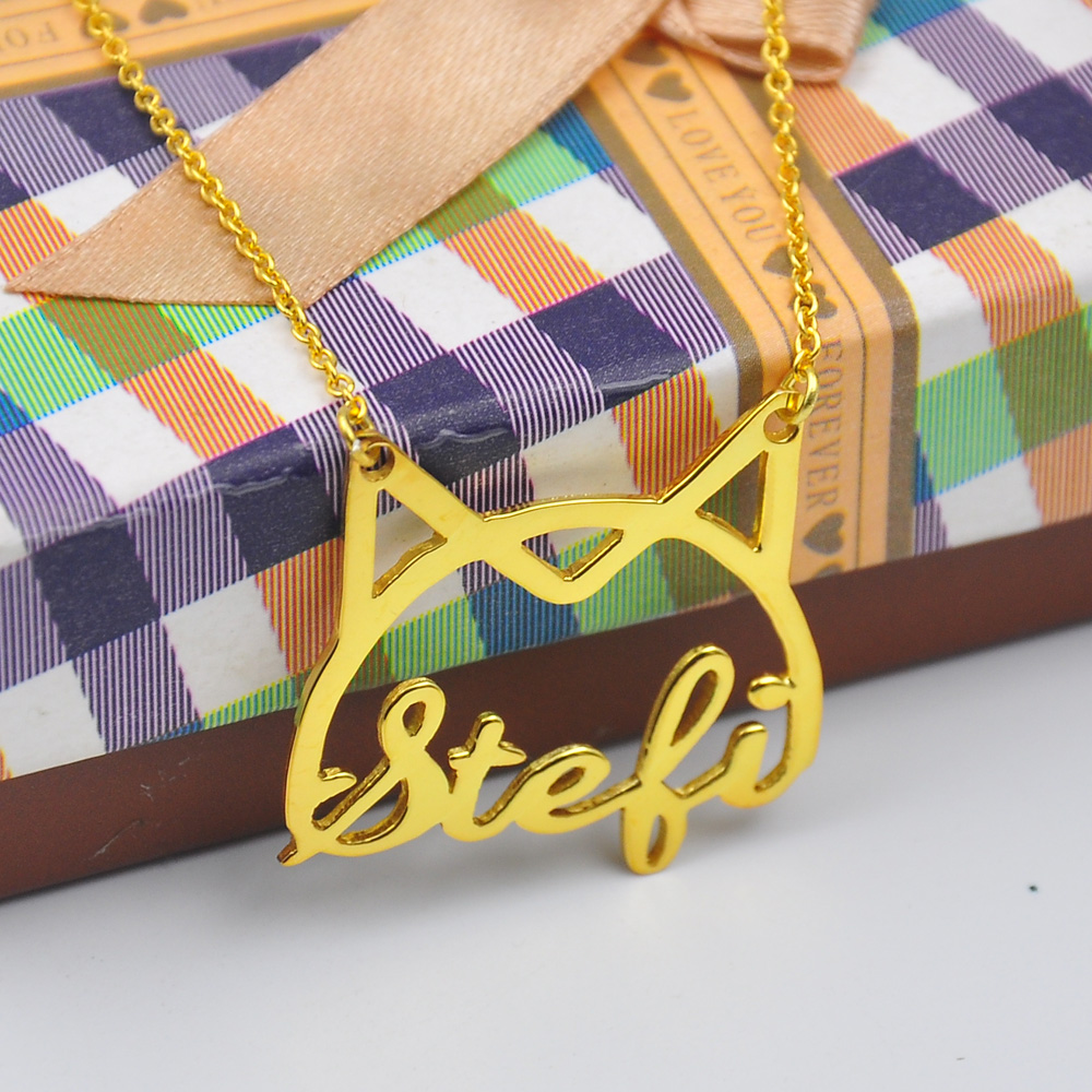 aliexpresscom buy custom name necklace with cat shape cute kitten nameplate necklace font choose personalized jewelry christmas gift from reliable - Christmas Names For Cats