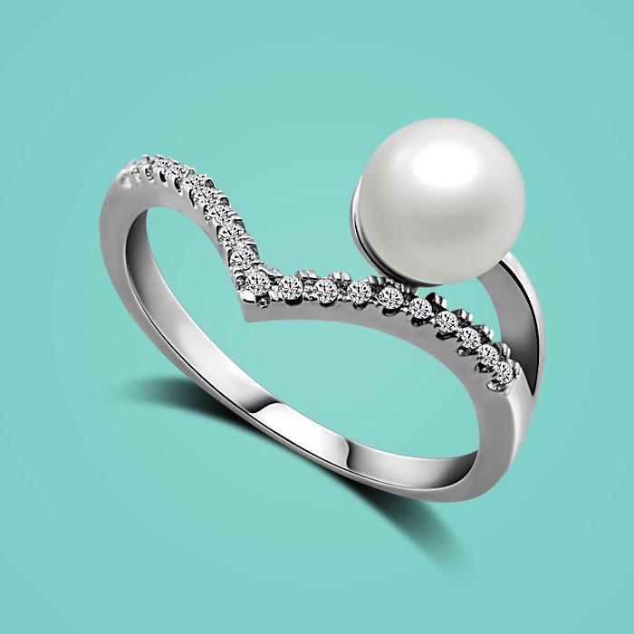 Fashion 925 sterling silver ring,classic noble Artificial pearl pendant ring,lady Zircon ring Valentines day gifts for lover