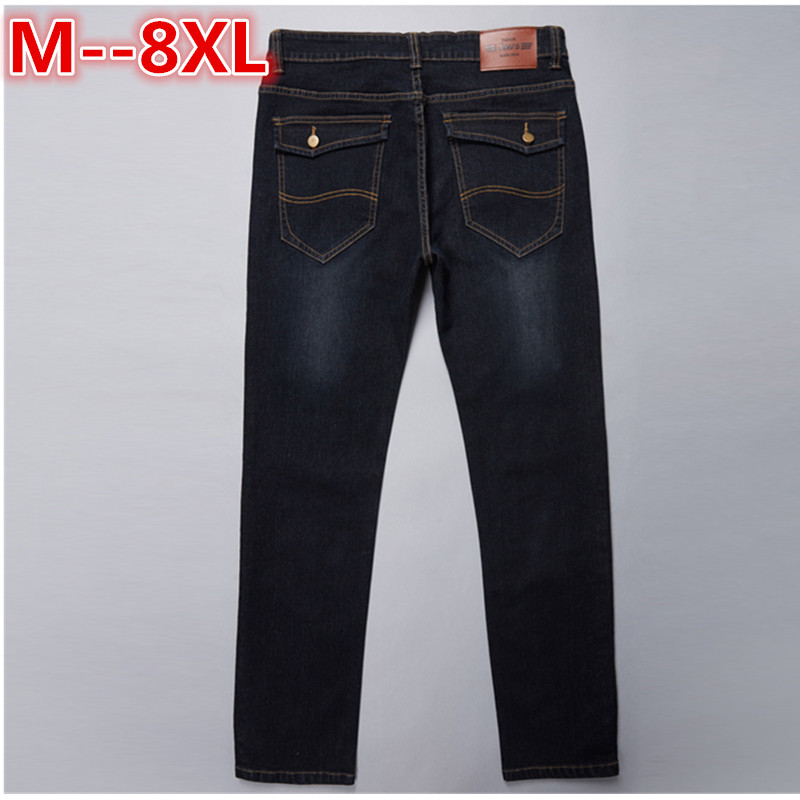 plus size 10XL 8XL 6XL Jeans Darked Wash Jeans Mens Blue Black Cotton Denim Loose Fit Classic Stylish Casual Pants Male Trousers mens sports pants bloomers black size xl