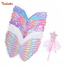 Kids Wings Wands Butterfly Rainbow For Girls Princess Fairy Children Halloween Cosplay Costume Accessories