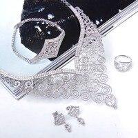 Красивые роскошные комплект ювелирных изделий большой Размеры Цепочки и ожерелья Браслет Серьги и кольцо фианит высокий класс 4 шт. комплек