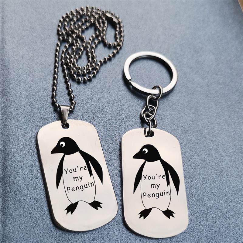 Vous êtes mon pingouin lettre petit pingouin dans la carte en acier inoxydable Tag collier femmes boucle HER601 shouzh bijoux tour de cou