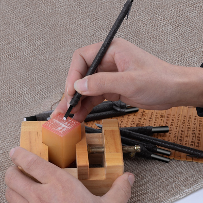 10Pcs Stone Carving Knife Wood Carving Chisels Knife Tungsten Steel Woodworking Set Rubber Stamps Hand Tools