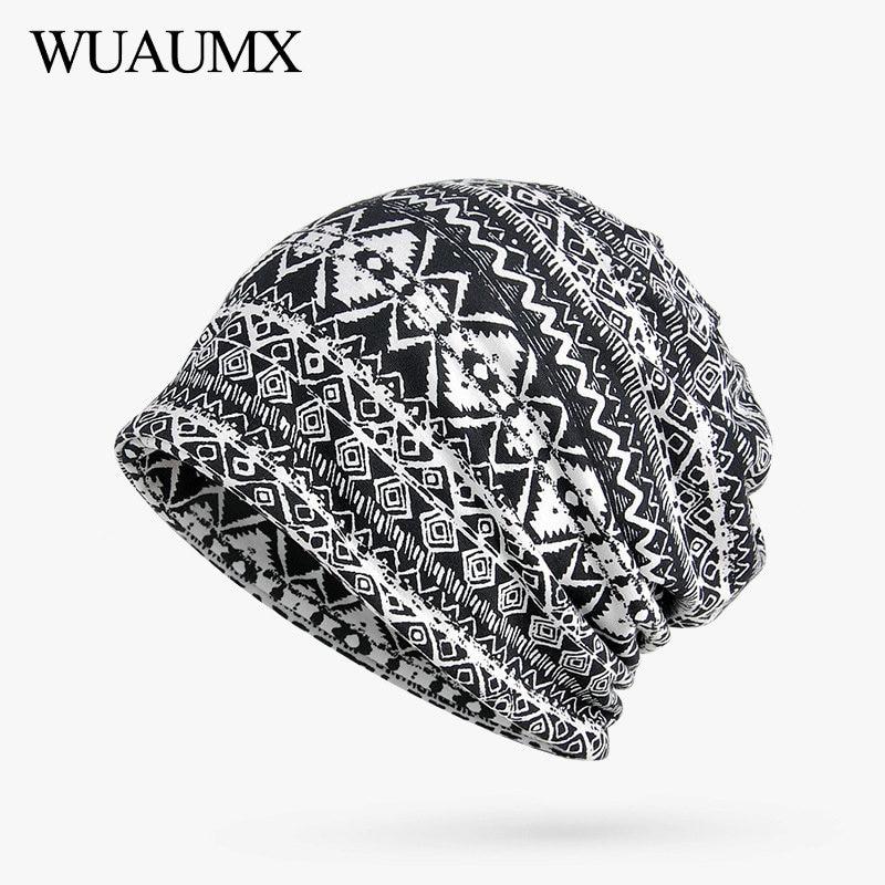 Wuaumx Casual Beanies Hats Women Men Black Red Blue Turban Hat Geometric Pattern Headwear Hedging Caps Skullies Beanies Retail