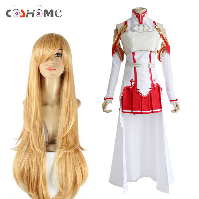Coshome Sword Art Online Asuna Yuuki Halloween Party Cosplay Costumes Wigs Women White Tops Skirts Yellow Long Hair
