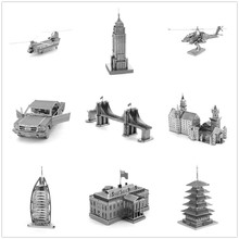 One Piece Miniature 3D Metal Puzzle Scale Model Buildings Car Ship Aircraft Bridge Fighter Helicopter Instrument Toys for Gift