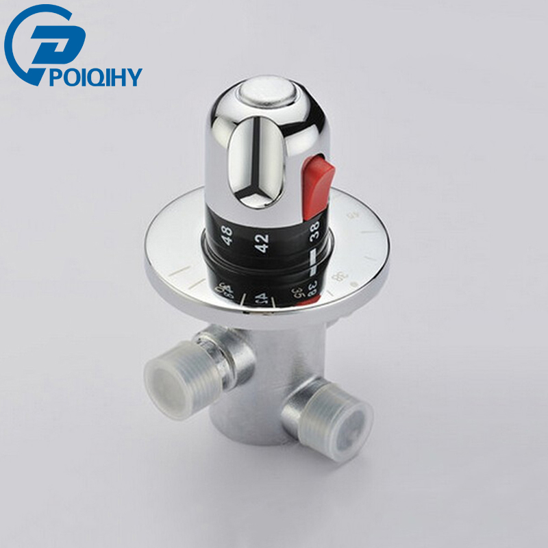 Solid Brass G1/2 Thermostatic Mixing Valve for Shower System Water Temperature Control Chrome Finish direct warm mix river system center intelligence water diversion organ temperature control mixing ball valve 25 mm thread 1 mpa