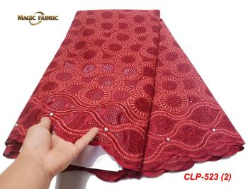 African Swiss Voile Lace Fabric With Stones High Quality 2019 Soft African Voile Cotton Lace Fabric For African Man  CLP-523