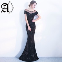 Black Sequins Slim Prom Dress Elegant Backless Long Evening Mermaid noble Party gown