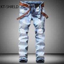 Узкие джинсы мужчины Моды Люксовый Бренд Случайные прямые джинсовые длинные брюки Мульти карманные Упругие Грузовые байкер брюки вакеро hombre