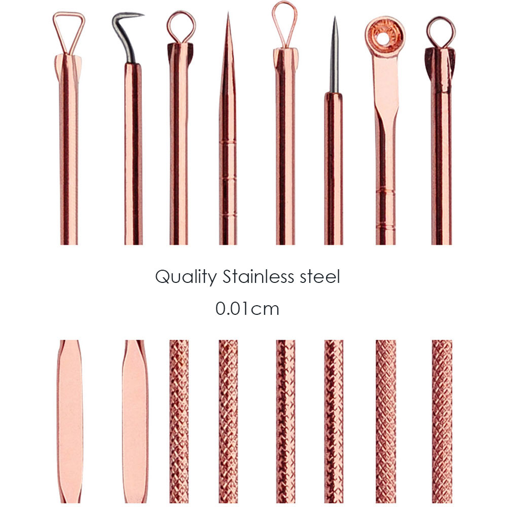 4 PCS Rose Gold Acne Removal Double Head Needle Pimple Blackhead remove Treatment Acne Needle Acne Remover Pull in Toiletry Kits from Beauty Health