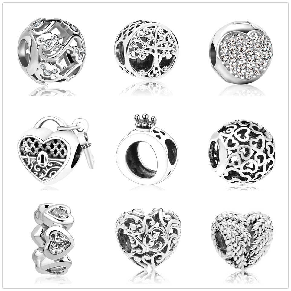 2019 new hollow Mickey life tree crown Bead fit Original Pandora charms silver 925 Bracelet trinket jewelry for women man making