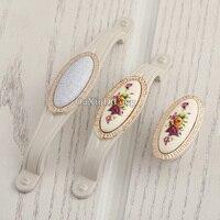 NEW 10PCS European Ceramic Cracks Printing Kitchen Door Furniture Handles Cupboard Wardrobe Drawer Cabinet Pulls Handles