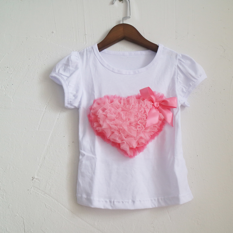 1-8years girl flower heart T-shirts children <font><b>amazon</b></font> tees shirt dress wholesale summer shirts <font><b>amazon</b></font> wholesale T-shirts image