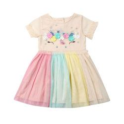 2019 Nova Bonito Dos Miúdos Da Criança Do Bebê Da Menina de Flor Do Partido Pageant Rainbow Rainbow Tutu de Tule Vestido de Verão Vestido de Manga Curta Vestidos de Princesa