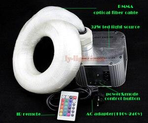 Bricolage kit de lumière de fibre optique moteur de lumière LED + fibre optique scintillant étoile ciel plafonnier 32 W RGB IR taille de mélange à distance fibre