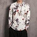 China Estilo Flor Impressão De Linho Homens Casuais Camisa Masculina de Manga Comprida Camisa Pullover Plus Size M-5XL