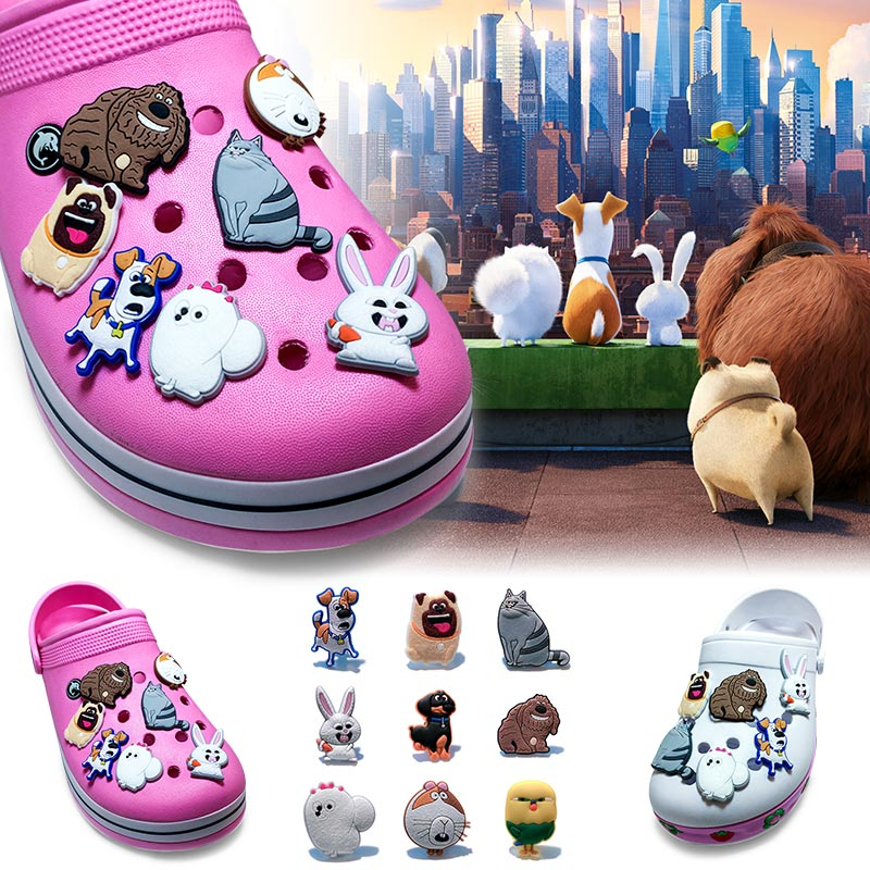 Free shipping 45pcs the Secret Life of Pets PVC shoe charms shoe accessories shoe decoration for croc jibz kids gi Kid's Gift plastic standing human skeleton life size for horror hunted house halloween decoration