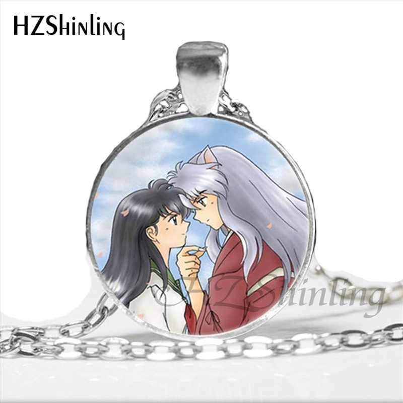NS-00792 Anime Inuyasha i Kagome naszyjnik Cartoon szkło biżuteria Steampunk dla kobiet Cosplay wisiorek typu Statement naszyjniki HZ1
