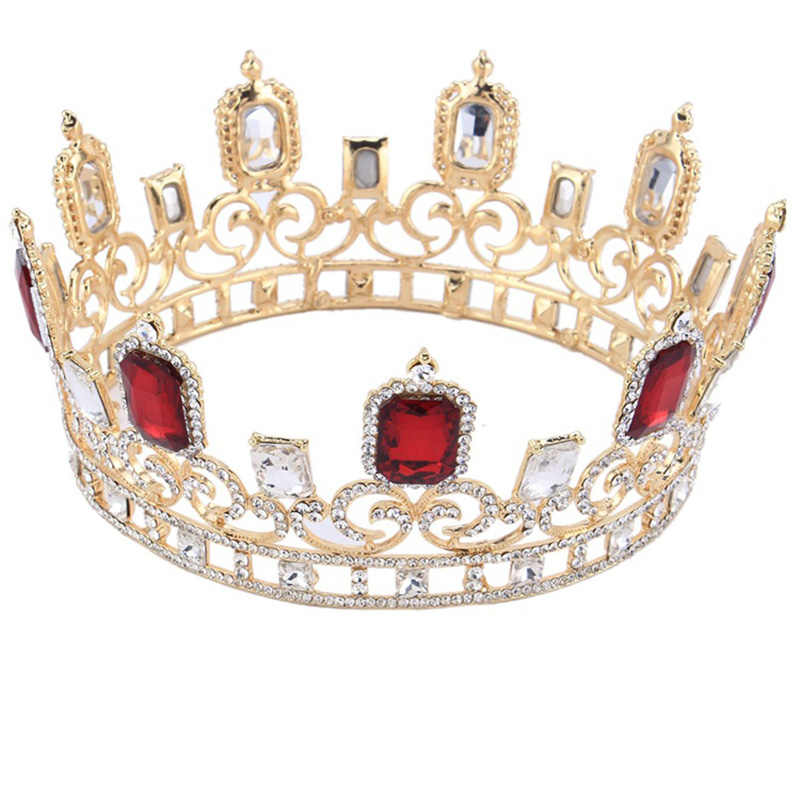 Luxury Full Round Gold Crown Blue White Red Crystal Tiara for Head Jewelry Wedding Accessories Women Diademe Big Bridal Crowns