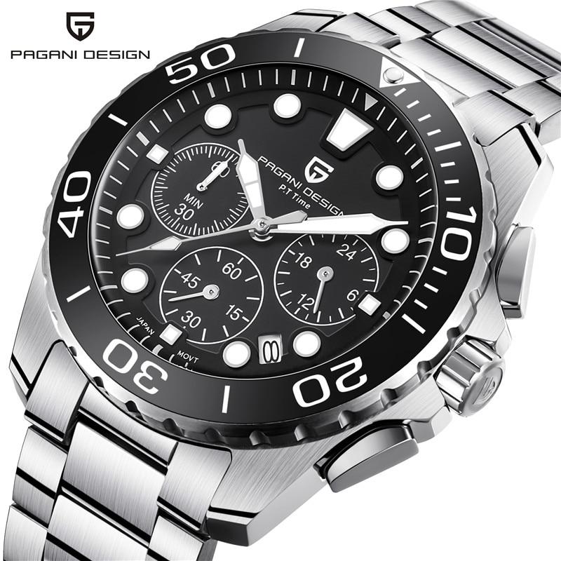 PAGANI DESIGN Brand Watch Men Chronograph Quartz Wristwatch Full Steel Waterproof Sport Mens Watches Men's Clock reloj hombre цена