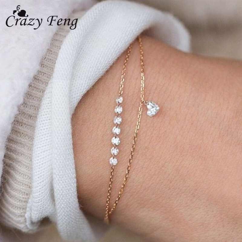 Charms Crystal Heart Pendant Bracelet For Women Bohemian Bracelet Lover Bangles Party Fashion Female Bracelet Jewelry Gift