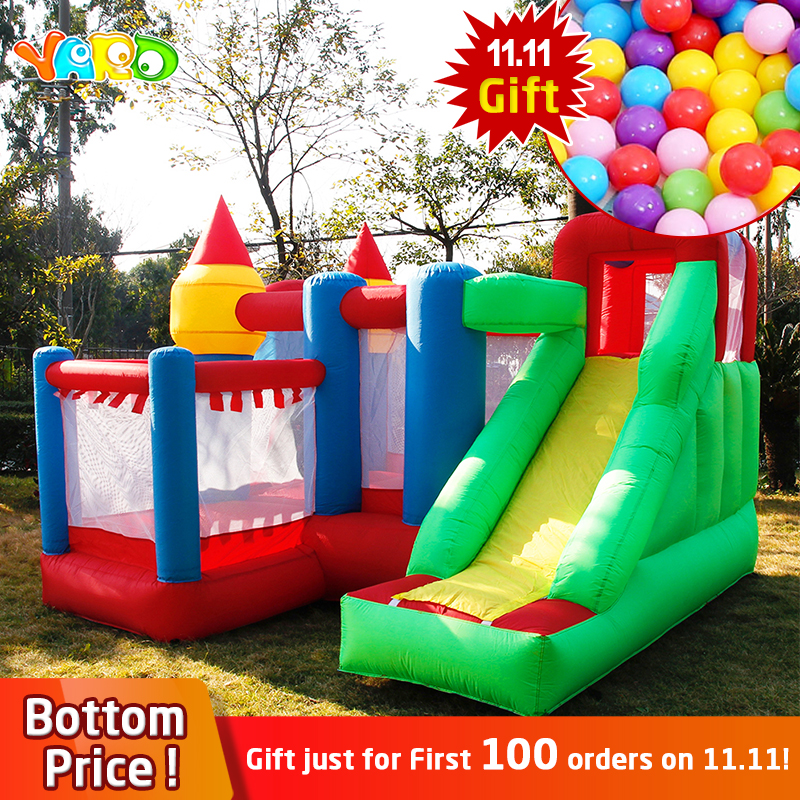 YARD Inflatable Jumping Castle With Slides For Kids Home Use Inflatable Games Trampoline House Present Free PE Ocean Balls солнечная м мультиварка готовим вегетарианские блюда