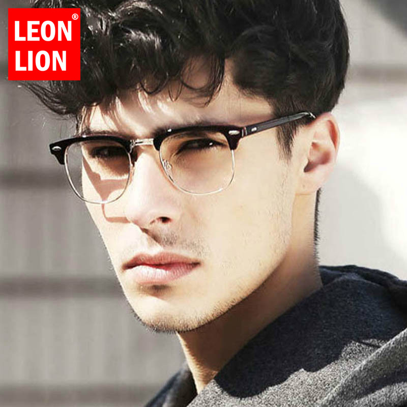 LEONLION Square Eyeglasses Frame Optical Spectacle Frames Brand Men Clear Lens Vintage Rivet Half Metal Eyeglasses Women