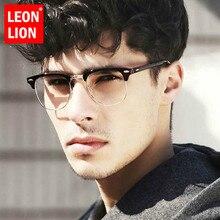 LEONLION Square Eyeglasses Frame Optical Spectacle Frames Brand Men Clear Lens Vintage Rivet Half Metal Women