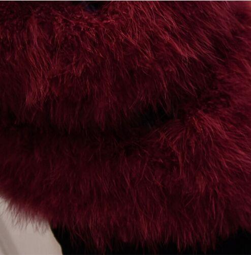 Новое поступление Винтажный стиль настоящий вязаный жилет из меха страуса жилет из натурального меха - Цвет: wine