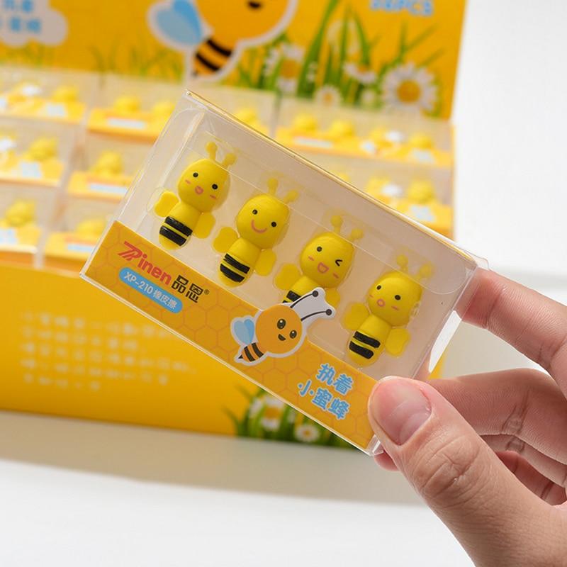 4 Pcs/lot Cute Busy Little Bee Eraser Cartoon Animals Pet Rubber Eraser Kawaii Stationery School Supplies Papelaria Kids Gifts