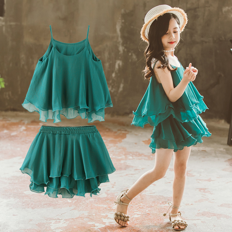 Girls Summer Clothes Green Outfits Teen Girls Strap Vest Topsshorts 2Pcs Clothing Set -8640