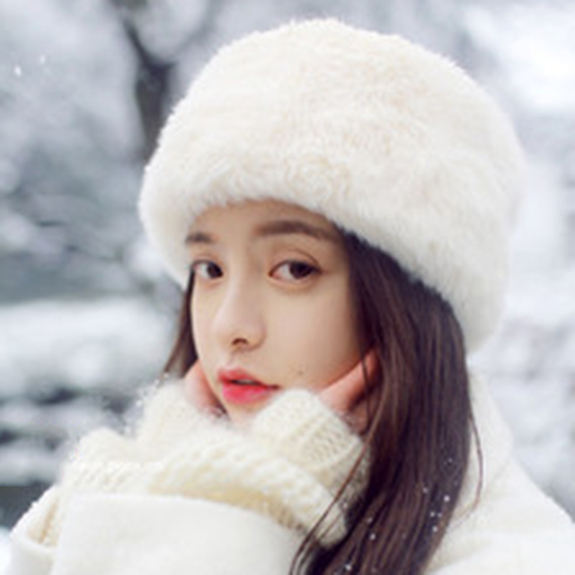 Fashion Winter Hat Women Faux Fur Cap Fluffy Fox Fur Hats Headgear Russian  Bonnet Girls Baggy Raccoon Fur Beanies Cap Plus Hat 10c72f299