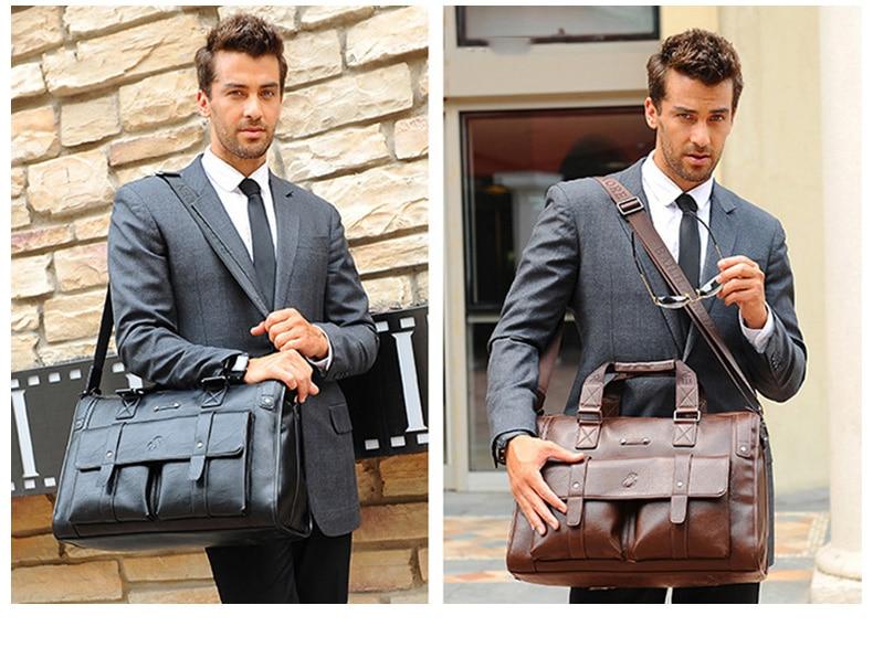 HTB1sM6JJ6DpK1RjSZFrq6y78VXaR Men Leather Black Briefcase Business Handbag Messenger Bags Male Vintage Shoulder Bag Men's Large Laptop Travel Bags Hot XA177ZC