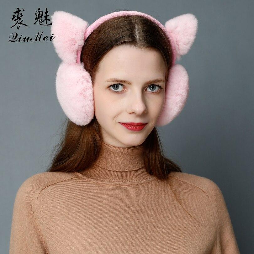 Winter Warm Real Fur Ear Protector Cute Cat Ear Earflap Rabbit Fur Earmuff For Girls Ear Flap Ladies Plush Ear Muffs Women