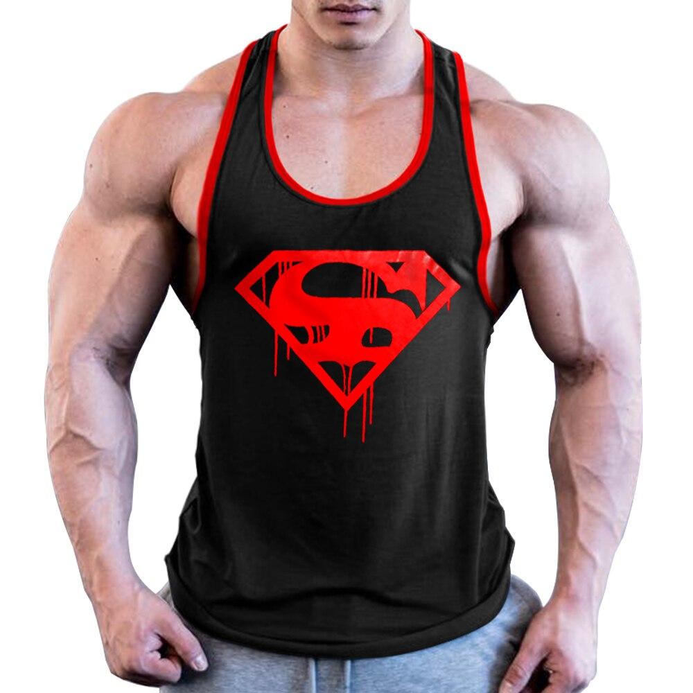 OA Men Blood Superman Bodybuilding Stringer Gyms   Tank     Top   Fitness Singlet Cotton Sleeveless Shirt Muscle Vest