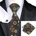 New Hot Mens Tie Brown Ouro Floral Gravata Lenço Abotoaduras Set Fontes Do Partido Casamento Negócios Gravata Para Homens C-1027