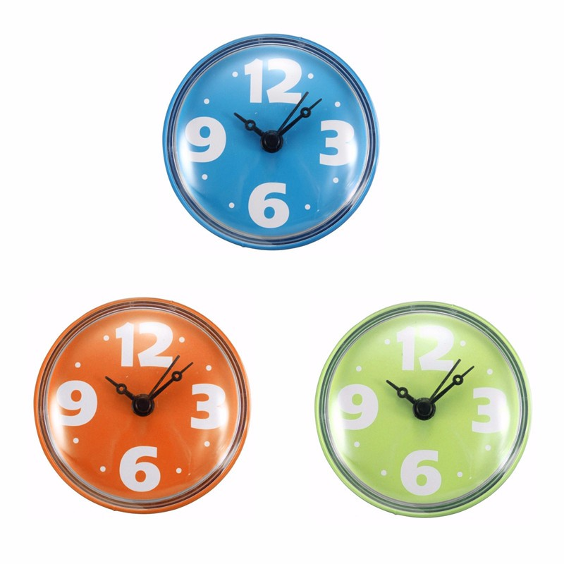ABS And Rubber Waterproof Suction Glass Tile Wall Window Mirror Bath Shower  Clock Watch Orange Blue Green Bathroom Accessories